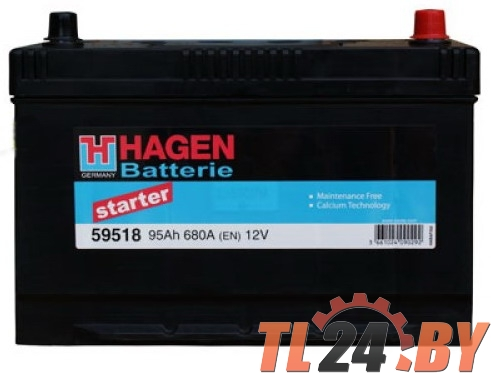 Аккумулятор Hagen 59518 JIS 95Ah 680A 306x173x225mm