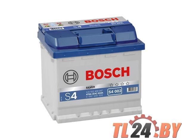 Аккумулятор BOSCH S4 SILVER 12V 52AH 470A ETN 0(R+) B13 207x175x190mm 12. 4kg