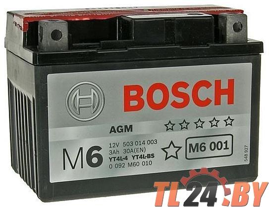 Аккумулятор для мототехники BOSCH MOBA AGM M6 12V 3AH 30A (YT4L-4/YT4L-BS) 114x71x86mm 1.7kg