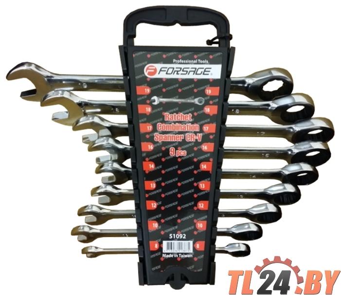 Набор ключей комбинированных трещоточных 9пр. (8, 10, 12, 13, 14, 16, 17, 18, 19мм) в пластиковом держателе, Forsage F-51092