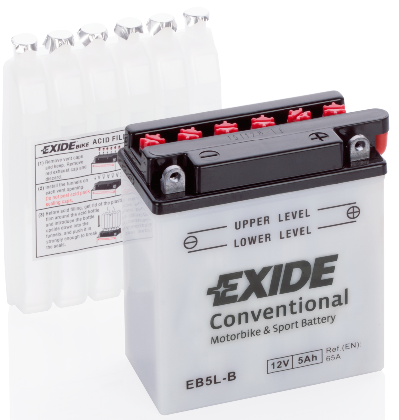 Аккумулятор для мототехники EXIDE CONVENTIONAL 12 V 5 AH 60 A ETN 0 B0 120x60x130mm 2.1kg