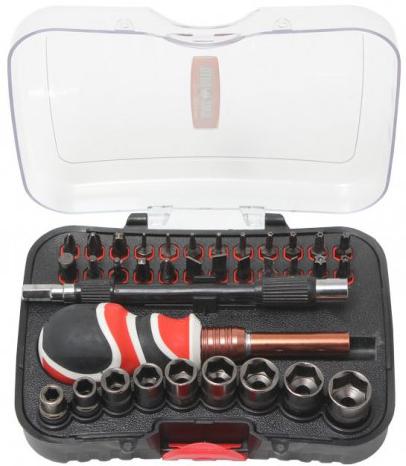 Отвертка с комплектом бит, гибким удлинителем и головками 35пр. в пластиковом футляре (BaumAuto BM-30314135)